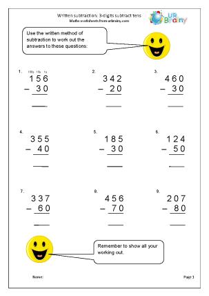 Preview of worksheet Written subtraction: 3-digit numbers subtract tens