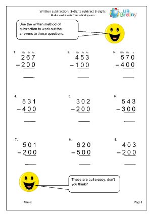 Preview of worksheet Written subtraction: 3-digit numbers subtract hundreds