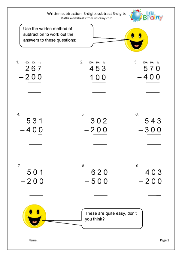 Preview of 'Written subtraction: 3-digit numbers subtract hundreds'