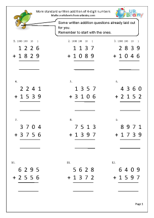 Preview of worksheet More adding 4-digit numbers