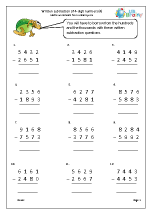 More written subtraction of 4-digit numbers