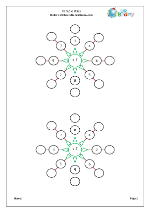 Preview of worksheet 7x table stars