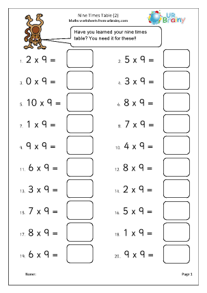 Preview of worksheet 9x table (2)
