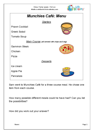 Preview of worksheet Menu choices
