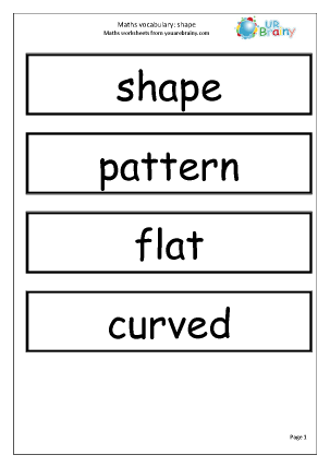 Preview of worksheet Maths Vocabulary Shape