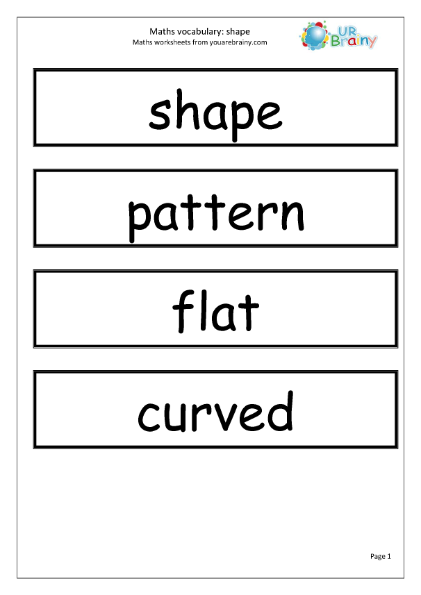 Preview of 'Maths Vocabulary Shape'