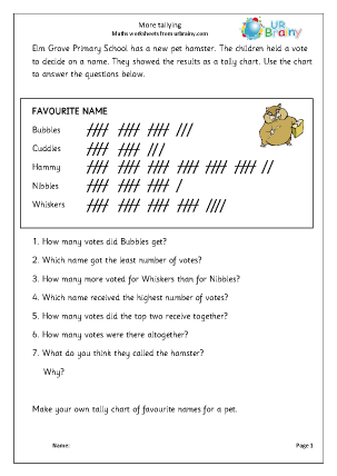 More Tallying Statistics (Handling Data) Maths Worksheets For Year 4 ...