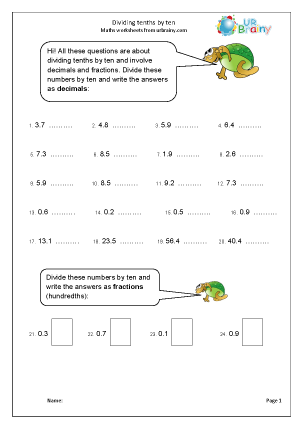 Preview of worksheet Divide tenths by ten