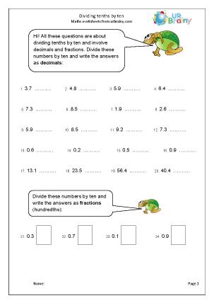 Divide Tenths by Ten