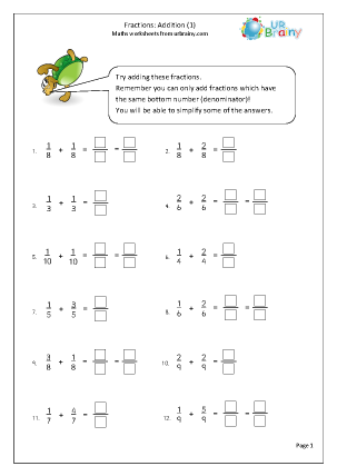 Preview of worksheet Adding fractions (1)