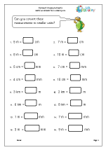 Worksheets Units Of Time Worksheets measuring and time maths worksheets for year 4 age 8 9 covert measures to smaller units