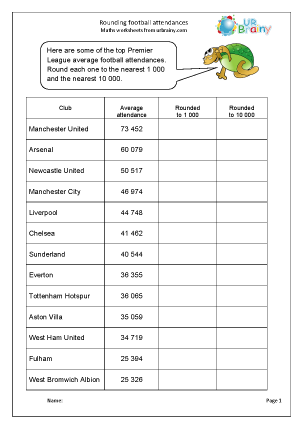 math worksheet : rounding to 1000 and 10000 football attendances number and place  : Football Maths Worksheets