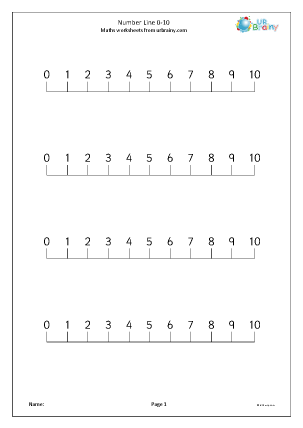 Preview of worksheet Number line 0-10