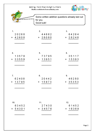 Preview of worksheet Adding numbers with more than 4-digits