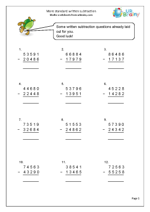 Subtracting more than 4-digit numbers