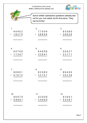 more subtraction with zeros subtraction maths worksheets for year 5 age 9 10. Black Bedroom Furniture Sets. Home Design Ideas