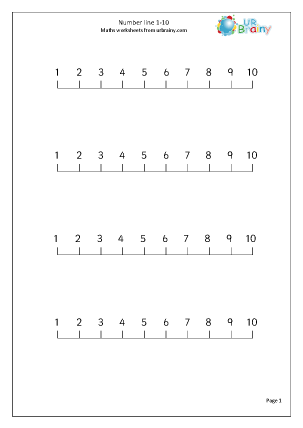 Preview of worksheet Number Line 1-10