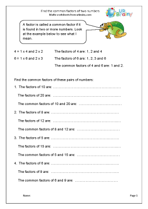 Preview of worksheet Find common factors