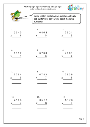 Preview of worksheet Multiply 4-digit numbers by a single digit