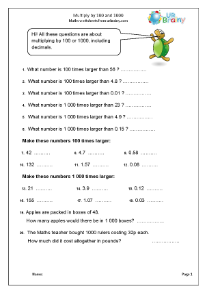 Preview of worksheet Multiply by 100 and 1000