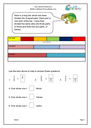Preview of worksheet Equivalent fractions (1)