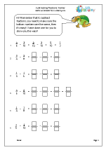 Harder subtracting fractions