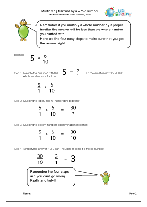 Preview of worksheet Multiply fractions by a whole number