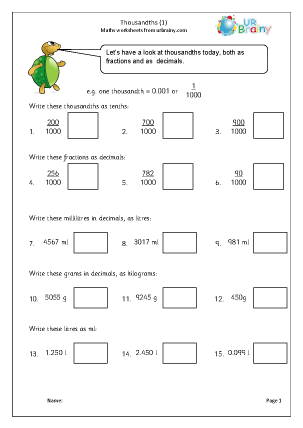 Preview of worksheet Thousandths (1)
