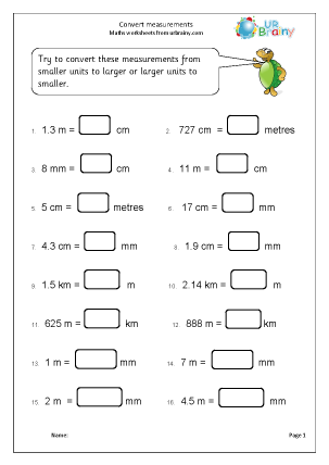 Convert measurements Measuring Maths Worksheets For Year 5 (age 9-10)