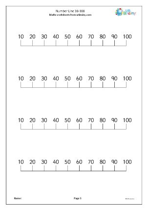 Preview of worksheet Number line 10-100
