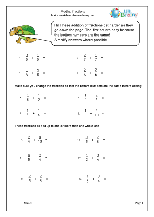Preview of worksheet Harder adding fractions (1)