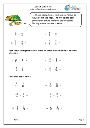 Preview of worksheet Harder subtracting fractions (1)