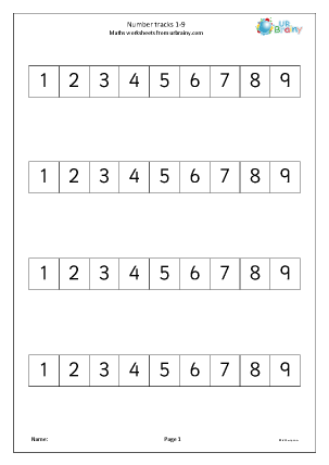 Preview of worksheet Number track 1-9