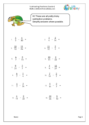 Preview of worksheet Harder subtracting fractions (harder)