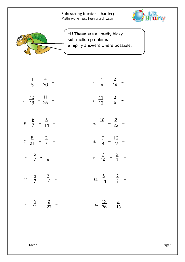 Preview of 'Harder subtracting fractions'