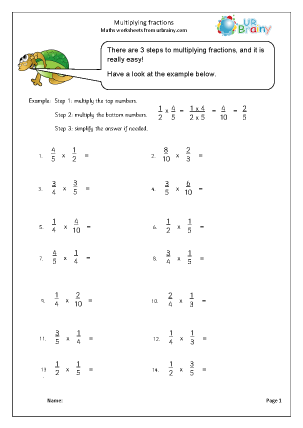 Preview of worksheet Multiplying fractions