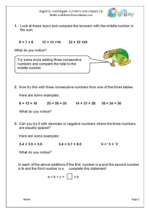 Preview of worksheet Investigate numbers and shapes using algebra (1)