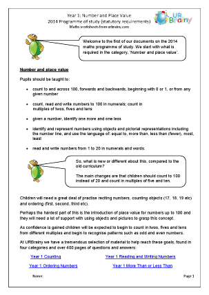 Preview of worksheet Programme of Study: Number and Place Value