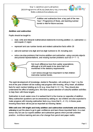 Preview of worksheet 2014 Programme of Study: Year 1 Addition and Subtraction
