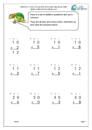 Preview of worksheet Addition in columns (2)