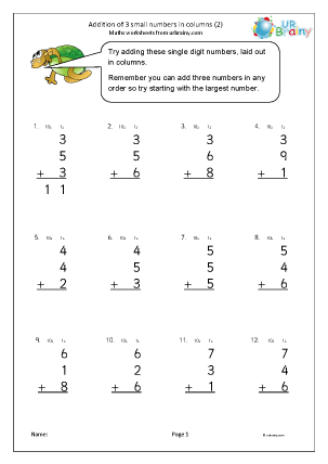 Preview of worksheet Addition of 3 small numbers in columns (2)