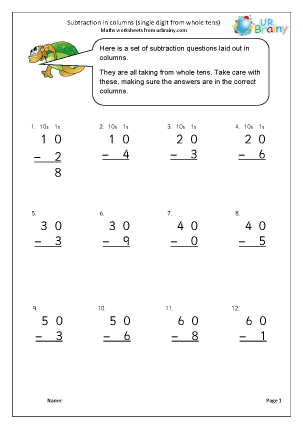 Preview of worksheet Subtraction in columns (2)