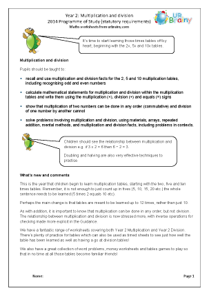 Preview of worksheet Programme of Study: Year 2 Multiplication and Division