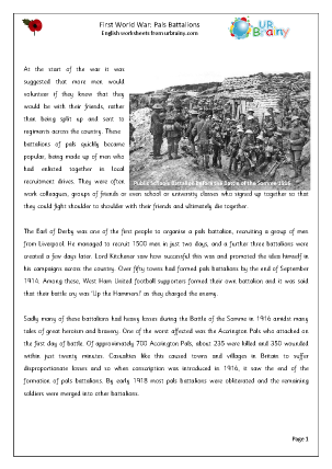 Preview of worksheet First World War: Pals Battalions