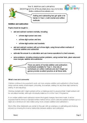 Preview of worksheet Programme of Study: Year 3 Addition and Subtraction