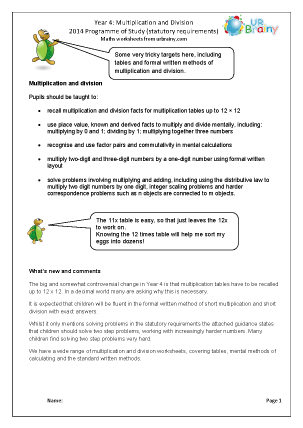 Preview of worksheet Programme of Study: Year 4 Multiplication and Division
