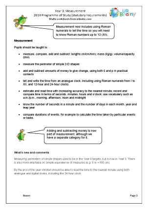 Preview of worksheet Programme of Study: Year 3 Measurement