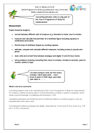 Preview of worksheet Programme of Study: Year 4 Measurement