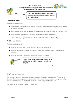 Preview of worksheet Programme of Study: Year 4 Geometry
