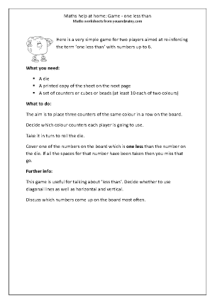 Preview of worksheet Dice Game: One Less Than